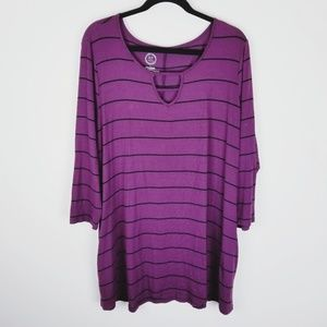 24/7 Maurices purple black tunic with pockets 1x